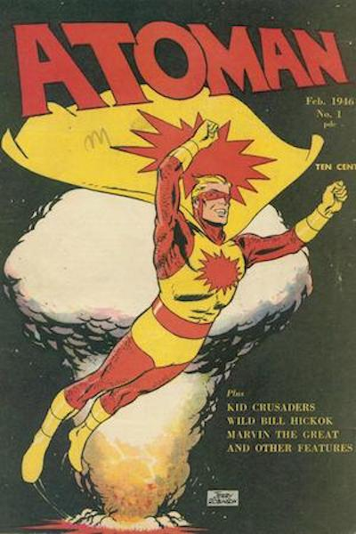 Atoman Cover (comic book with costumed hero flying)