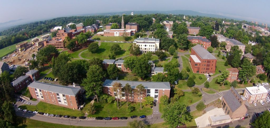 Overhead photo of a college campus
