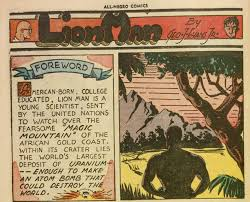 page in a comic called the Lion Man with words on one side and a photo on the other