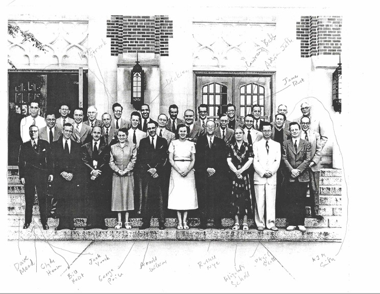 a old group photo in black and white of faculty at MSU