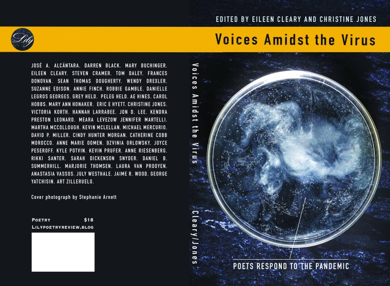 image with a heading of 'poets respond to the pandemic'Voices Amidst the virus' with a paragraph in white letters on one side and a sphere with an arrow pointing out of it saying 'poets